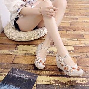 Image 4 - Veowalk Chinese Borduurwerk Vrouwen Canvas Wig Hoge Hakken, Mary Jane Platform Pumps Voor Elegante Dames Comfort Geborduurde Schoenen