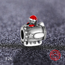 925 Sterling Silver Santa Claus Charm Bead Pendant for Pandora Bracelet and DIY Accessories Wholesale