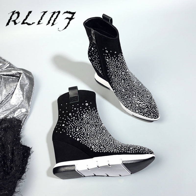 Strass Tube Diamant Mode En Wedge Flip Cuir Moutons Rlinf Noir Chaussures Court De aRFwXPqqH