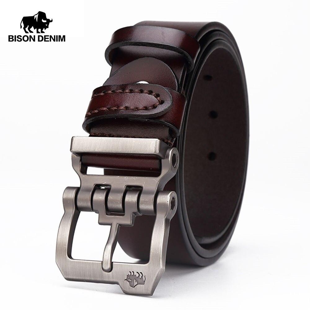 Bisonte DENIM cinturón de cuero genuino para hombres diseñador regalo jeans cinturones de los hombres de alta calidad de piel de vaca personalidad hebilla Vintage N71223