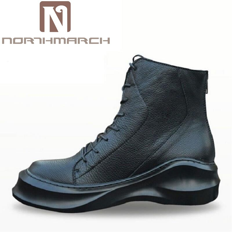 NORTHMARCH 2017 New Winter Casual Men Shoes Lace-up + Zipper Flat With High Top Leather Shoes Black Martin Boots Botas De Lluvia mycolen new winter casual men shoes fashion trends lace up breathable flat with high top leather shoes personality martin boots
