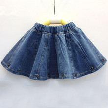 2016 New Girls Spring & Summer Solid Skirts Jean Skirt Baby Party Kids Brand