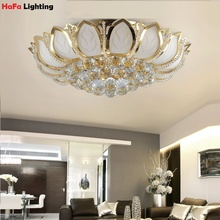 Flor de loto de cristal Moderna luz de techo Top Bolas de cristal K9 dormitorio luz de techo de cristal de la sala luz de Techo
