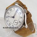 44 мм белые стерильные мужские часы  часы из нержавеющей стали с подсветкой  указкой  17 драгоценностей  6498 ручное движение  наручные часы