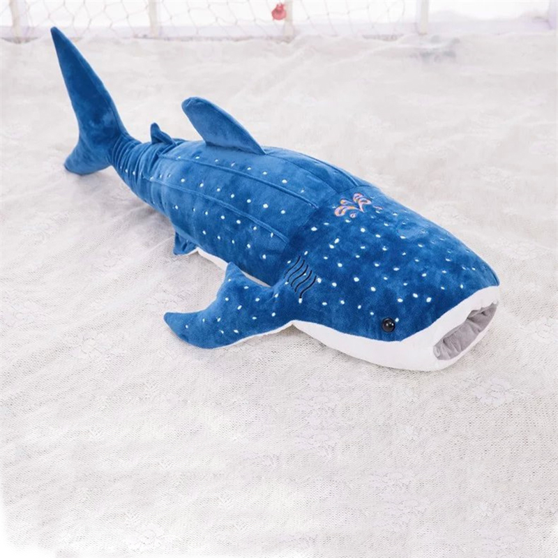 large 55cm blue whale shark plush toy cute cartoon doll soft stuffed animals cushion pillow toy best children birthday gifts