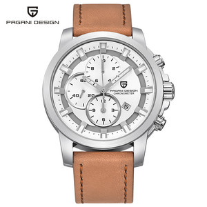 PAGANI Cronógrafo Relógio Ocasional Homens Marca De Luxo de Quartzo Relógio Do Esporte Militar relógio de Pulso Relogio masculino Dos Homens de Couro Genuíno
