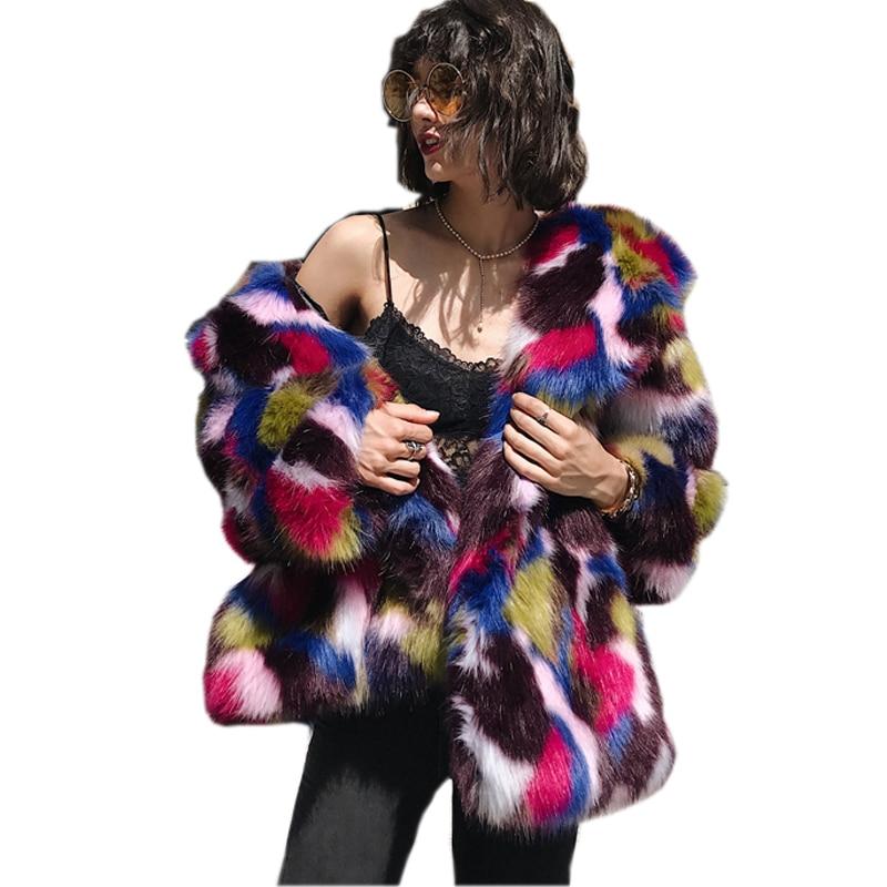 Women Elegant Fur Coats Colorful Faux Fur Coat Multicolor ...