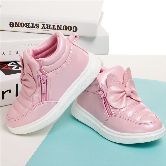 Girls Bow-knot Non-Slip Rubber Sole Sports Shoes Size 27-37