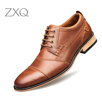 High Quality Men's Business Dress Shoes Pointed Toe Genuine Leather British Style Oxfords Shoes For Men Big Size