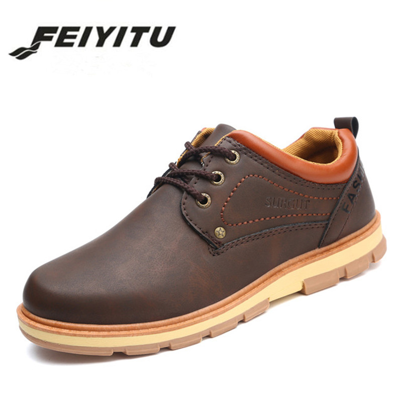 feiyitu Men Shoes New Spring and Autumn Casual Fashion Safety Oxfords Breathable Flat Footwear pu Leather Waterproof Shoes Men stylish men s casual shoes with buckle and breathable design