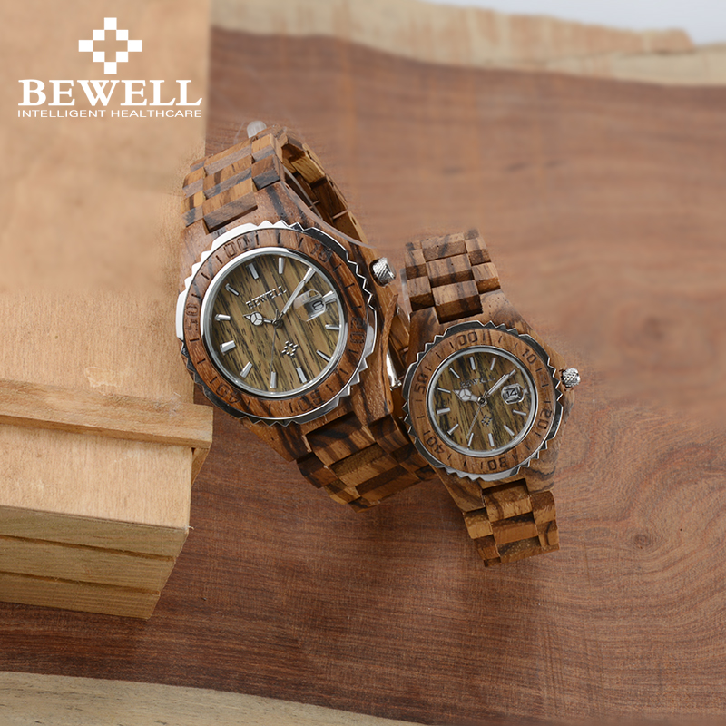 BEWELL Couple Watches Gift Dual-Clocks Sweetheart-Friends Wooden-Lover Luminous Luxury