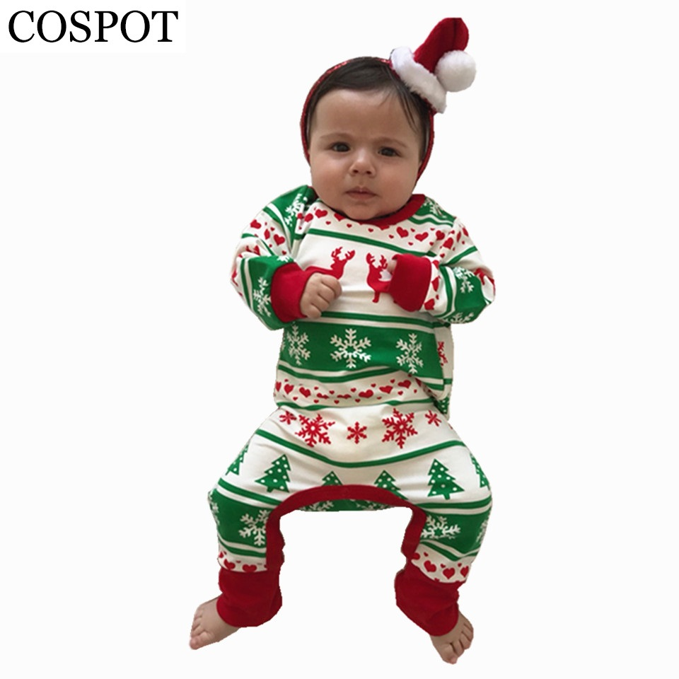 COSPOT Baby Girls Christmas Reindeer Romper Infant Boys Cotton Jumpsuit Cute Xmas Rompers for Newborns Toddler Pajamas 2017 30F puseky 2017 infant romper baby boys girls jumpsuit newborn bebe clothing hooded toddler baby clothes cute panda romper costumes