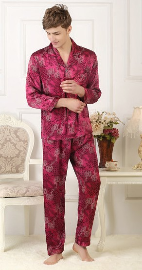 100% Maulbeerseide Pyjama Anzug Männer Silk Kleidung Langen ärmeln Lange Hosen Gedruckt Große Größe Double Dragon Kunden Zuerst