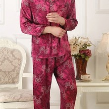 100% mulberry silk pajamas suit men's silk clothes long sleeves long sleeve long trousers printed large size double dragon