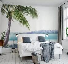 Custom 3D Wallpaper Watercolor Refreshing Blue Sea Coconut Tree Mediterranean TV Background Wall - Silk Waterproof Material