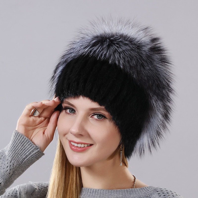 New Fashion Hat Warm Winter Cap For Women Real Natural Mink Fur Hat And Silver Fox