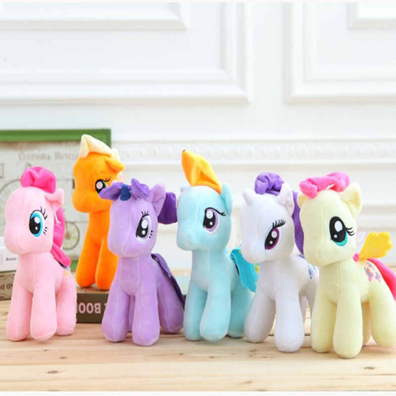 6pcs/lot  7 18cm Cute Rainbow Horse Toys Cartoon Toys Hobbies Stuffed Dolls Movie TV Stuffed Plush Animals Little Horse cute animals figure dolls finger puppets plush toys 10 pcs