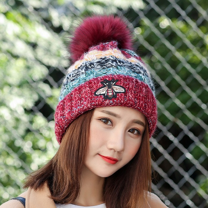 Fur Pompon Hat Winter Hat Men   Skullies     Beanies   Women Warm Cap Elasticity Knit   Beanie   Hats Children Fur Pom Pom Hats