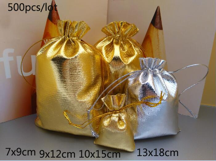 500pcs lot Gold silver Foil Organza Bag Favor baby Candy Gift Bags Wedding Party Favor Pouch