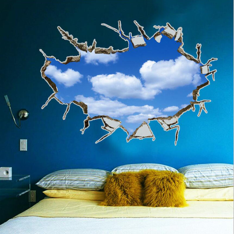 2016 diy blue sky vinly 3d wall stickers for kids room decoration ceiling muraux paredes bedroom adesivo de parede wall decals blue kids furniture wall