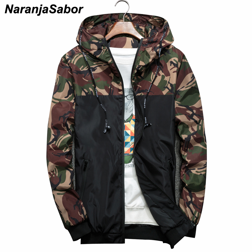 NaranjaSabor Spring Autumn Men's Jackets Camouflage Military Hooded Coats Casual Zipper Male Windbreaker Men Brand Clothing N434(China)