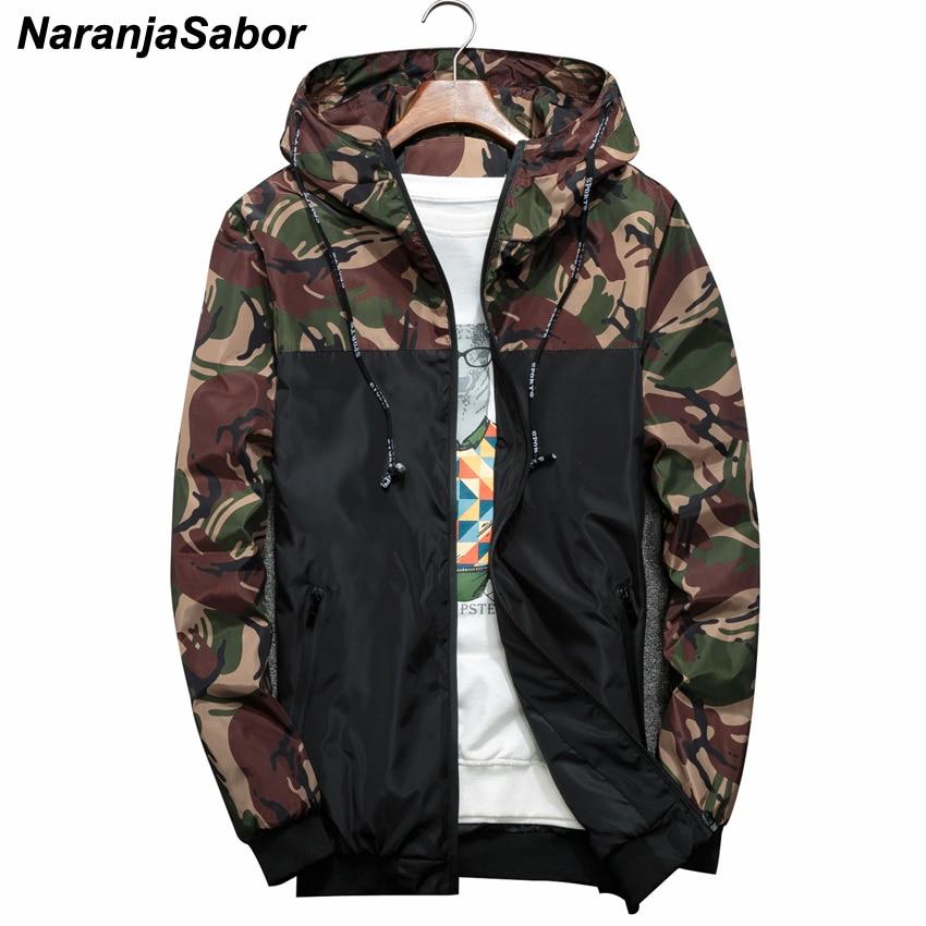 NaranjaSabor Frühling Herbst Männer der Jacken Camouflage Military Kapuze Mäntel Casual Zipper Männlichen Windjacke Männer Marke Kleidung N434
