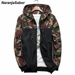 Naranjasabor Демисезонный Для мужчин Куртки камуфляжные военные пальто с капюшоном Повседневное молния мужской ветровка Для мужчин брендовая