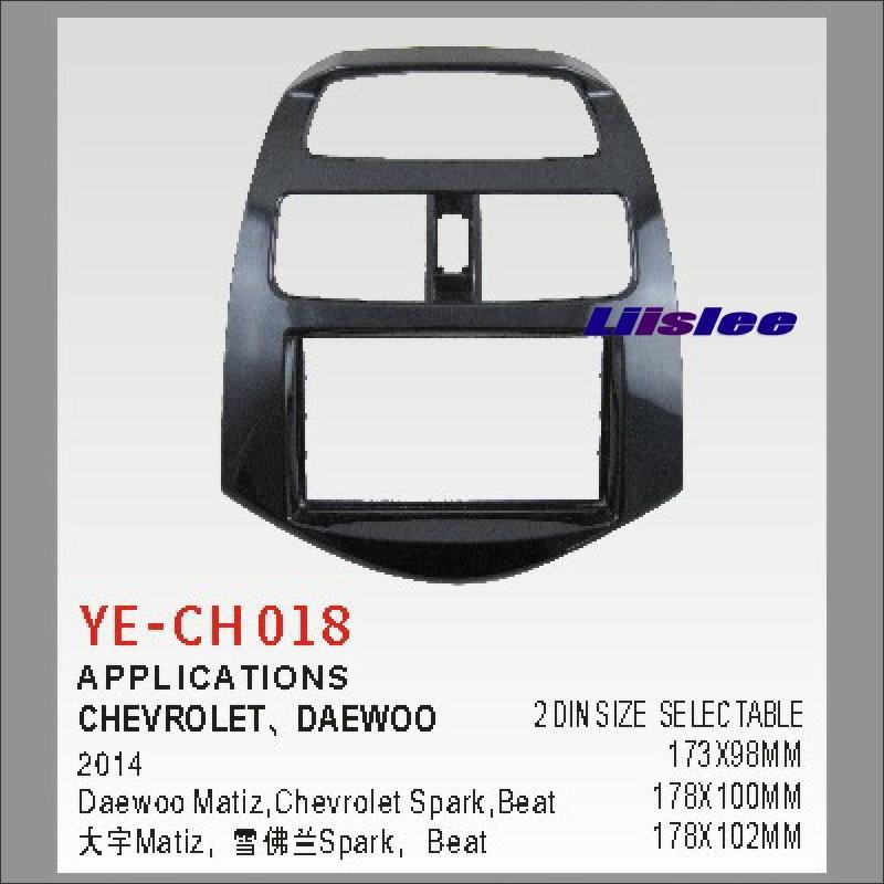 Liislee 2 DIN Car Refitting Frame Panel For Chevrolet Spark Daewoo Matiz Beat 2014 Radio DVD Player NAVI Navigation Fascia Kits 0986022101 10455503 96275481 new starter for chevrolet daewoo pontiac matiz 1 0l suzuki
