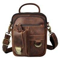 Real Leather Male Design Casual One Shoulder Bag Messenger bag Fashion Crossbody Bag 7 Pad Satchel University Tote bag 3004