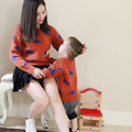 2016 autumn family look mother daughter matching clothes mother son outfits baby sweater cardigans pullover mommy and me clothes