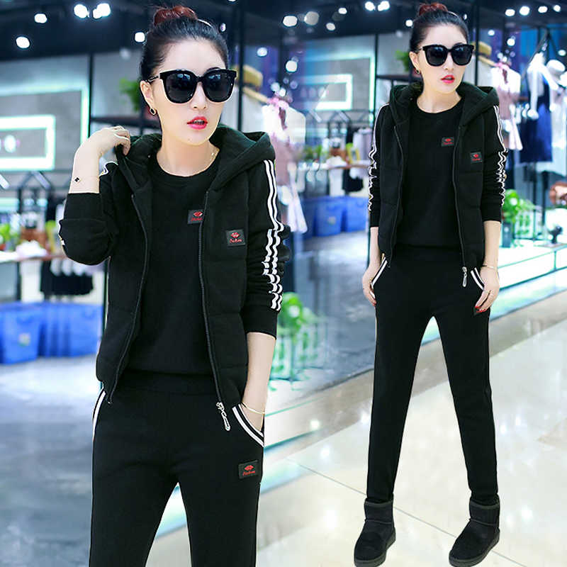 3a2a58fdd690 YICIYA черные женские спортивные костюмы из двух Комплект из 3 предметов  наряды Спортивная Большие размеры брючный