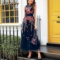 JaMerry Embroidery flower sexy mesh overlay dress Women high waist long dress 2018 Stretch sleeveless vest summer dress vestidos