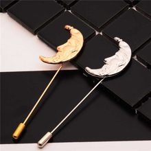 Hot Selling 1pc Alloy Strange Moon Shape Brooches Pins Fashion Brooch for Men Women Suit Pin 2 Colors(China)