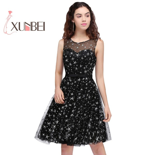 d5f78f626e2 Robe De Soiree Short Prom Dresses 2018 Litter Black Dresses Star Pattern Homecoming  Dress Cocktail Dresses Party Gown