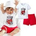 Горячие продажи 2 ШТ. Детские Топы + Брюки Сердце Медведь Pattern Наряды Set Одежда 0-3 Год XL063