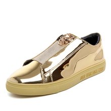 New Fashion Design Couple Superstar Glossy Patent Leather Board Shoes High-quality Pu Uppers Metal Leopard Head Casual Shoes Men