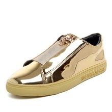 Nuevo Diseño De Moda Par Superstar Charol Brillante Zapatos del Tablero de Cuero de Alta Calidad Pu Suela de Cabeza de Leopardo de Metal Zapatos Casuales Hombres
