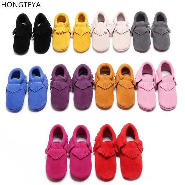 Hongteya New Red Suede Genuine Leather Newborn Baby Moccasins Fringe Bow Soft Sole Infant Kids Toddler Girls Boys Bebe Shoes