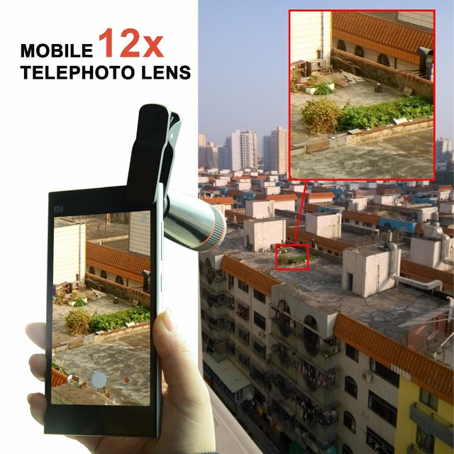 12X Telephoto Telescope Optical Zoom Lens+ Wide Angle & Macro+ Fisheye Lens Camera Lens Kit for iPhone5s 7 6s Plus Samsung 12CX3 5