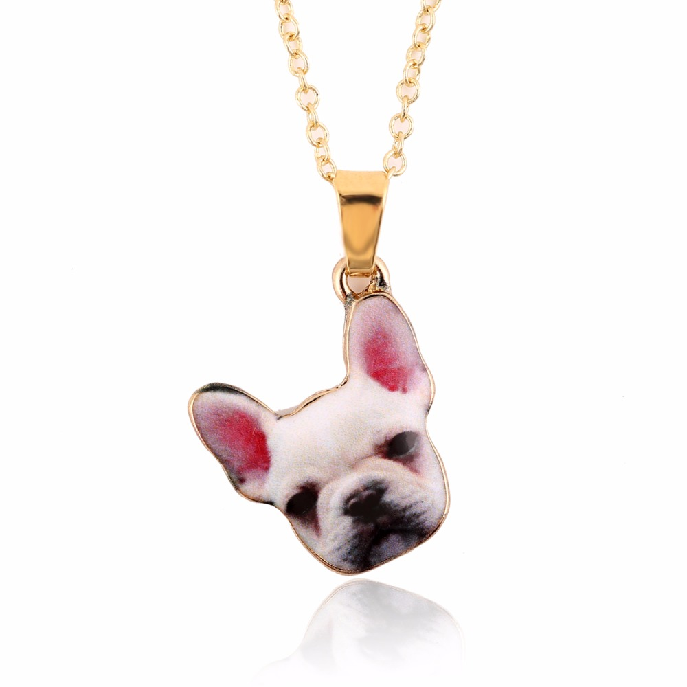 yiustar Fashion Jewelry Necklace French Bulldog Animal Necklace Lovely Pet Dog Necklace for Women OXL004