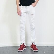Представляют дизайнер одежды брюки белый уничтожено мужские тонкий деним прямые байкер узкие джинсы мужчины рваные джинсы 28 — 36 MB1615