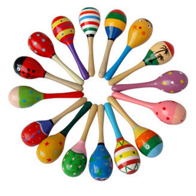 1pc Baby Wooden Ball Toys Baby Rattles Sand Hammer Musical Toy Instrument Sound Maker Baby Attetion Training Toys Random Color