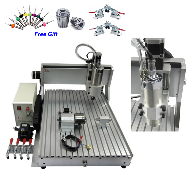 1.5KW Mini CNC 6090 Engraving Machine USB Parallel port CNC Router Engraver 4 Axis discount cnc aluminium router 6090