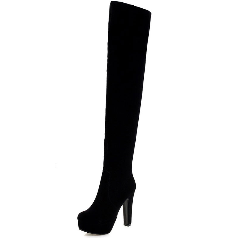 ФОТО Women Stretch Faux Suede Slim Thigh High Boots Sexy Fashion Over the Knee Boots High Heels Woman Shoes Black Red Winered XD242