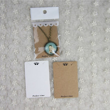Necklace bag packaging card paper transparent tay wrapping kraft with holes Love Jewelry Displays Cards Hang 10piece