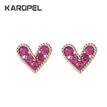 Korean Fashion Small Love Heart Stud Earrings For Women Rose Gold Color Red CZ Zircon Crystal Jewelry