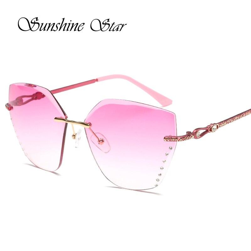 8ea8de86bcf4 Pop Age Newest Fashion Ocean Pink Rimless Sunglasses Women Brand ...