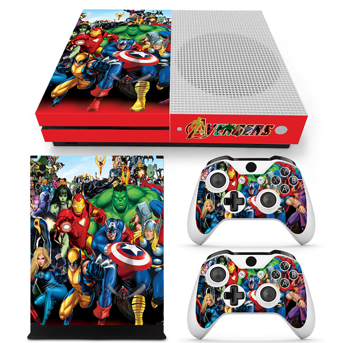 Superhero Sticker For XBOX One Slim Console Cover Skin Control Games Decal