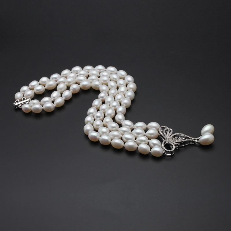 Image 5 - Свадебное ожерелье из натурального пресноводного жемчуга для женщин, колье из двух нитей культивированного жемчуга, ювелирное изделие-in Ожерелья from Украшения и аксессуары