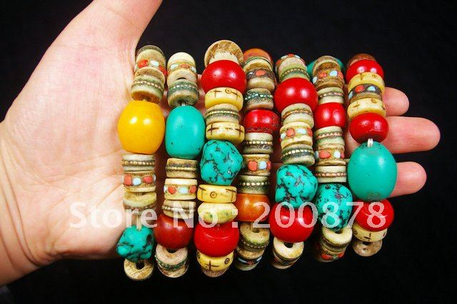 BB-213 Designer original-Tibetan colorful beaded bracelet,beeswax,coral,yak bones beads,Tibet Ethnic jewelry,mix Wholesale